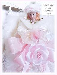 Pretty Pink Rose and White Fur Angel Tree Topper
