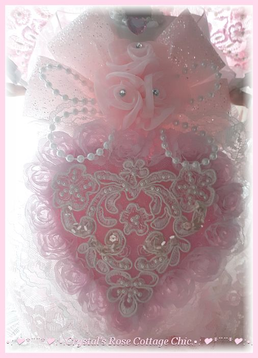 Shabby Chic Pink Heart Valentine's Day Angel Topper
