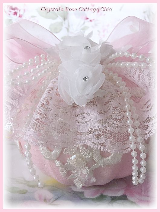 Shabby Chic White Rose & Pink Lace Pumpkin