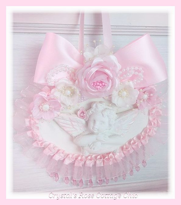 Shabby Chic Pink Rose Cherub Plaque...Free Shipping in U.S.