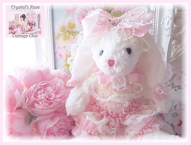 Shabby Chic Pink Ruffles, Lace & Pearls Bunny...Free Shipping