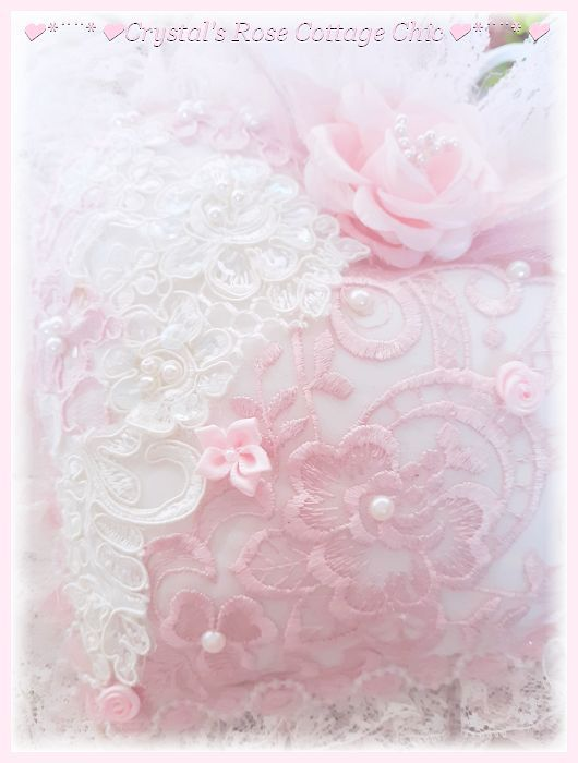 Big, Beautiful, Pink & White Lace Heart Sachet...Free Shipping