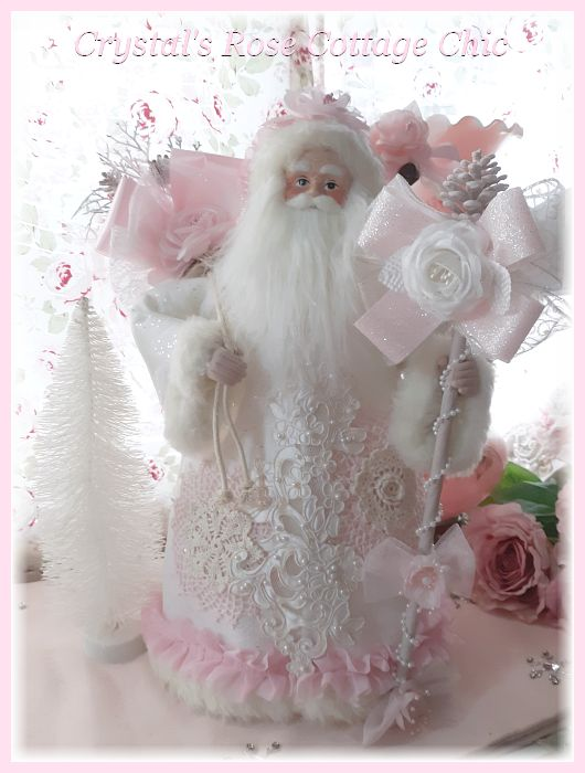 Shabby Chic Roses and Lace Pink Santa Tree Topper