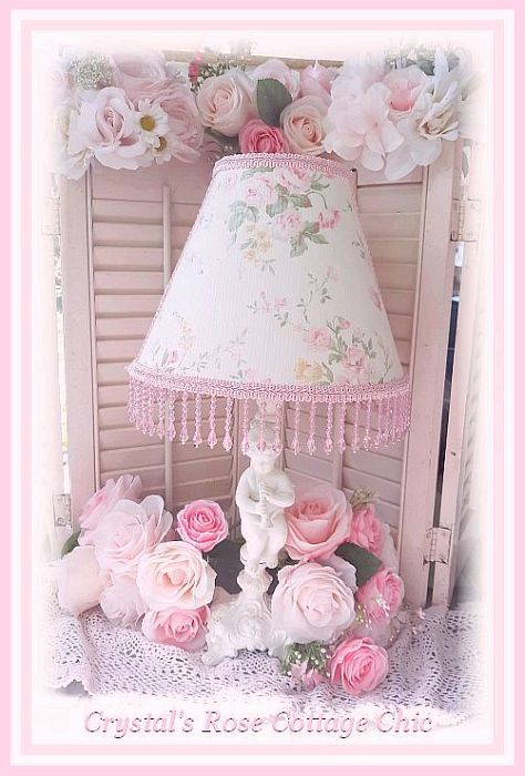 Sweet Shabby Chic Pink Rose Floral Lampshade