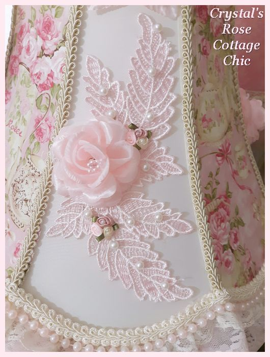 Pink Rose Shabby Chic Tea Time Bell Shade