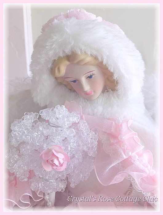 Shabby Pink Rose Snowflake Angel