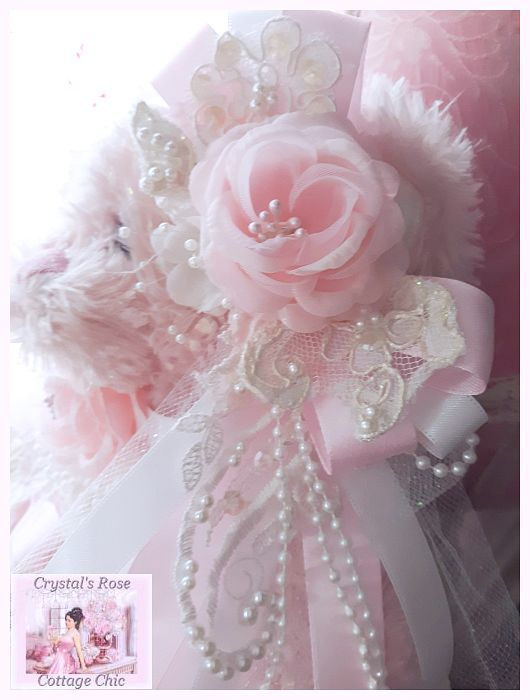 Pink Rose Shabby Chic Bear