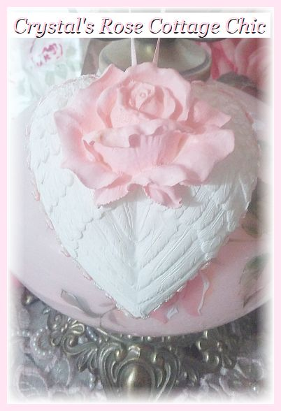 Shabby Chic Pink Rose Heart Wings Ornament...Free shipping