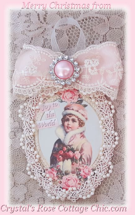 Pink Vintage Girl Christmas Card with Ornament...Free Shipping