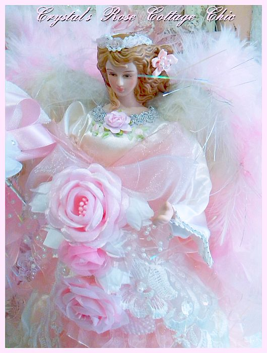 Sweet Pink Roses and Ruffles Angel Tree Topper