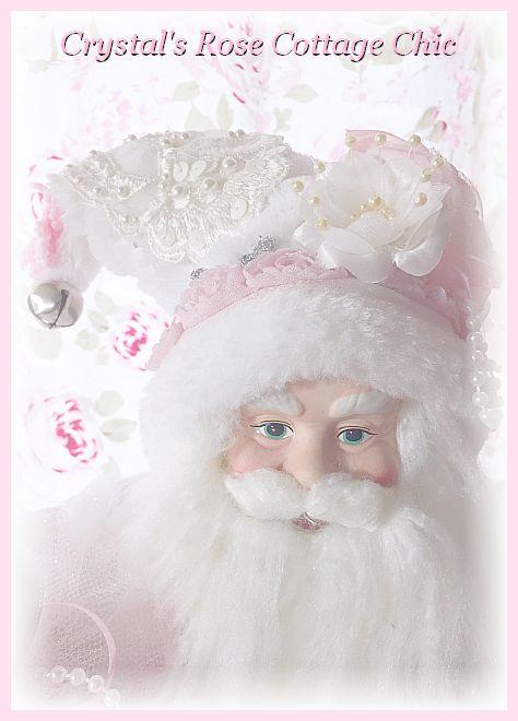 Shabby Pink Rose, White , Silver, Ivory, Vintage Lace Santa