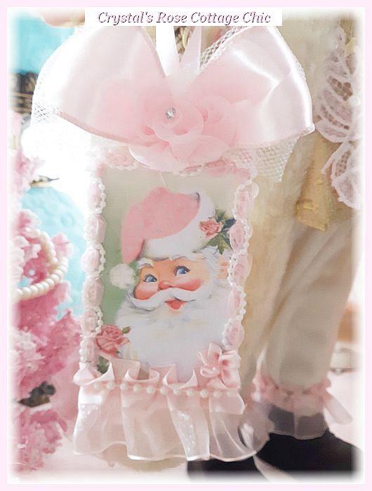 Shabby Chic Santa with Pink Bear