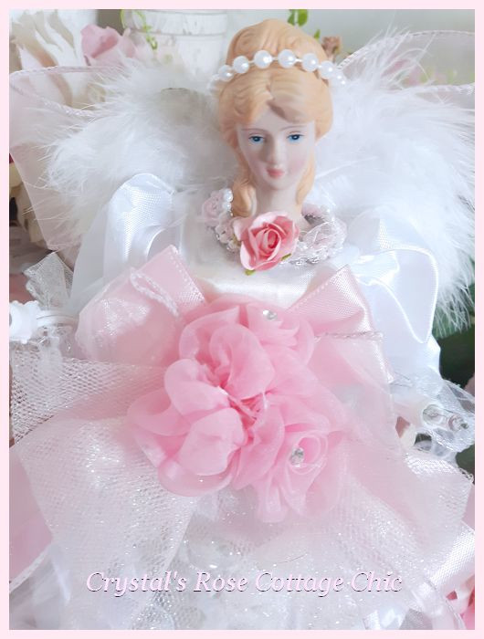 Light Up Pink and White Angel Tree Topper