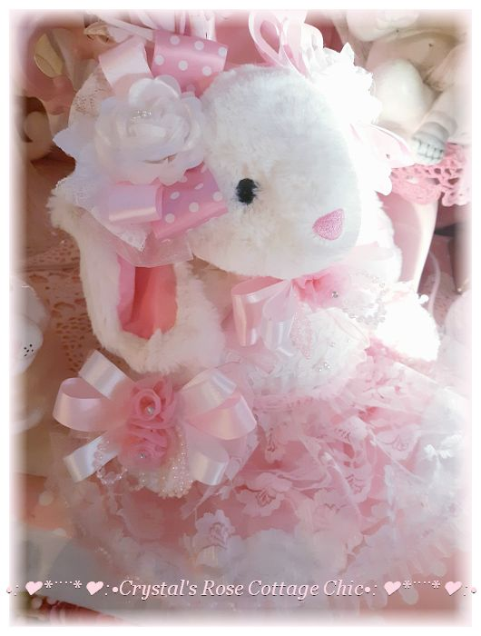 Precious Pink and White Easter Bunny...Free Shipping