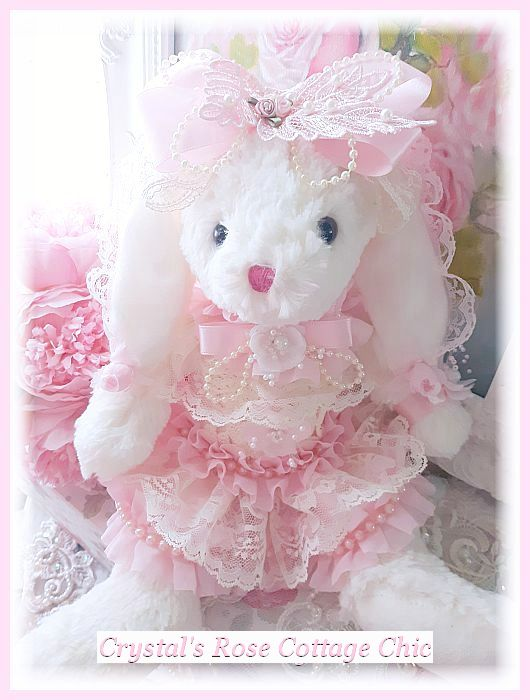 shabby chic easter decor on sale.htm shabby chic pink ruffles  lace   pearls bunny free shipping  shabby chic pink ruffles  lace   pearls