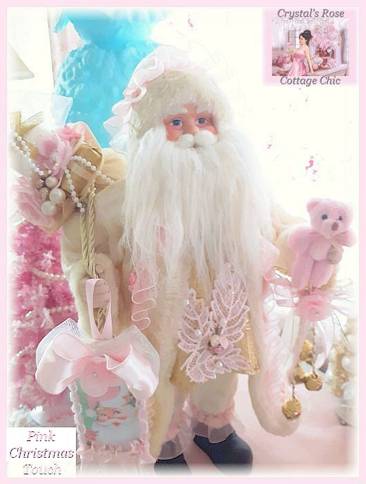 Shabby Chic Santa with Pink Bear