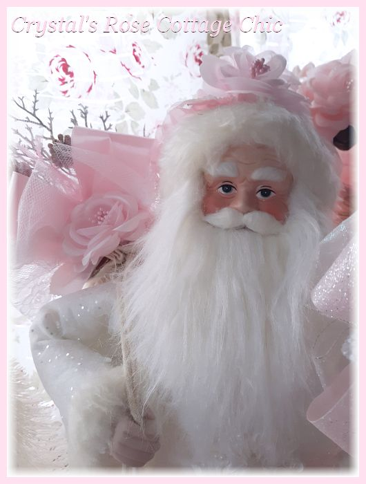 Shabby Chic Roses and Lace Pink Santa Tree Topper..Restocked