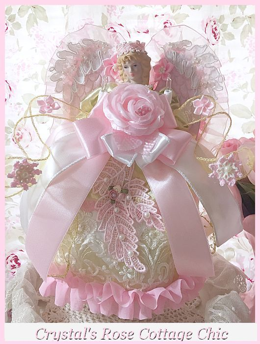 Shabby Chic Pink Rose Princess Light Up Angel Christmas Tree Topper...Last One