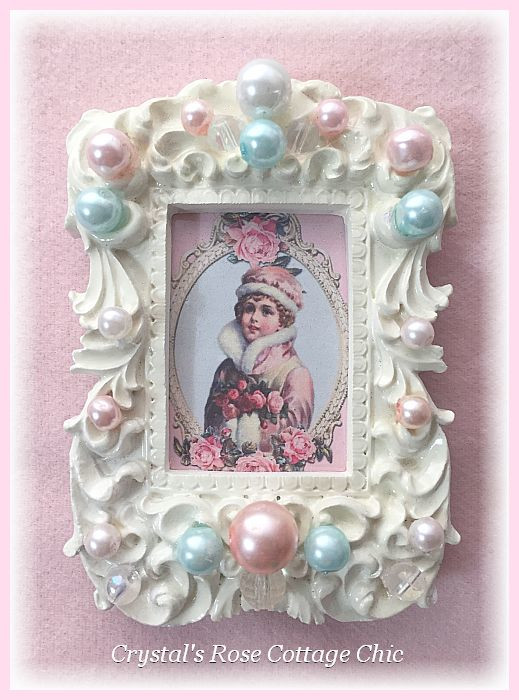 Vintage Pink Girl Pearl Frame...Free Shipping