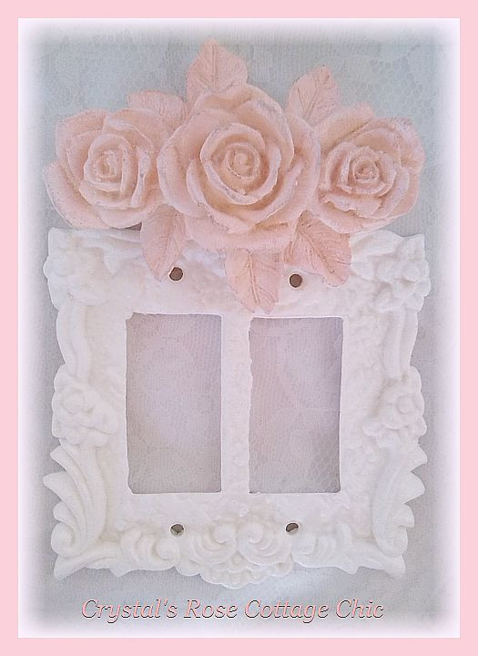 Triple Rose Victorian Double Rocker Switch Plate...Color Choices
