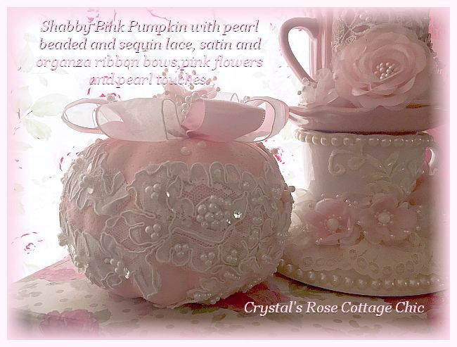 Pink and White Lace  Pumpkin