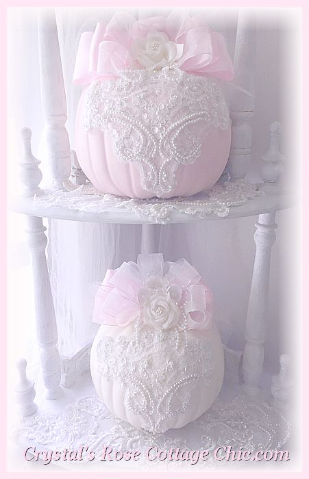 Beautiful Lace & Roses Shabby Pink Pumpkin