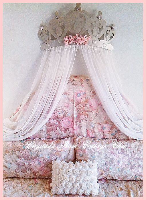 "Princess Roses & Hearts Bed Crown 27.5""...Color Options"