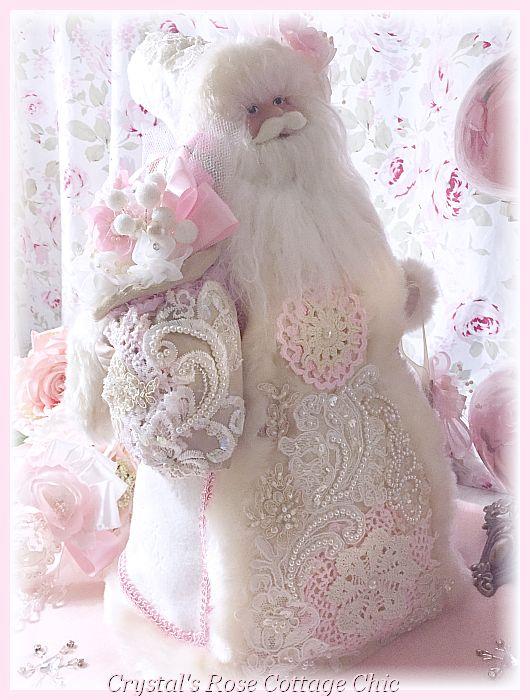 Roses & Vintage Lace Santa Tree Topper