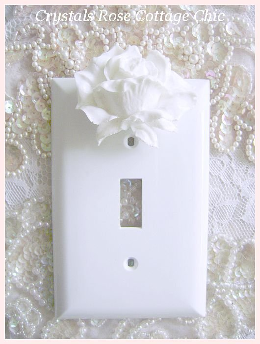 White Rose Switch Plate Cover...Color Choices
