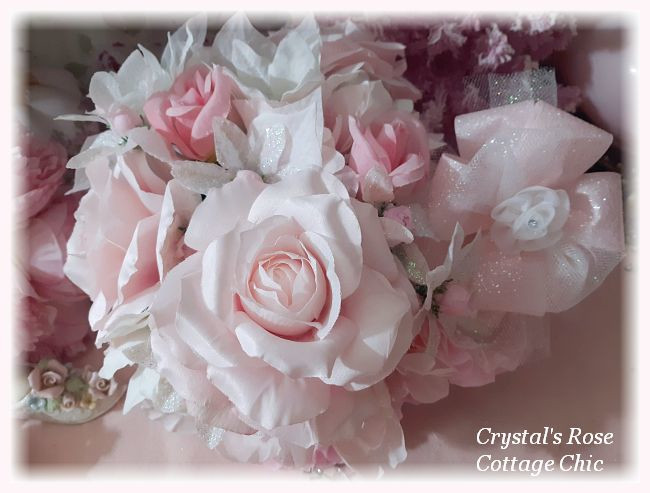 Pink Rose Glitter Frost Ornament Centerpiece