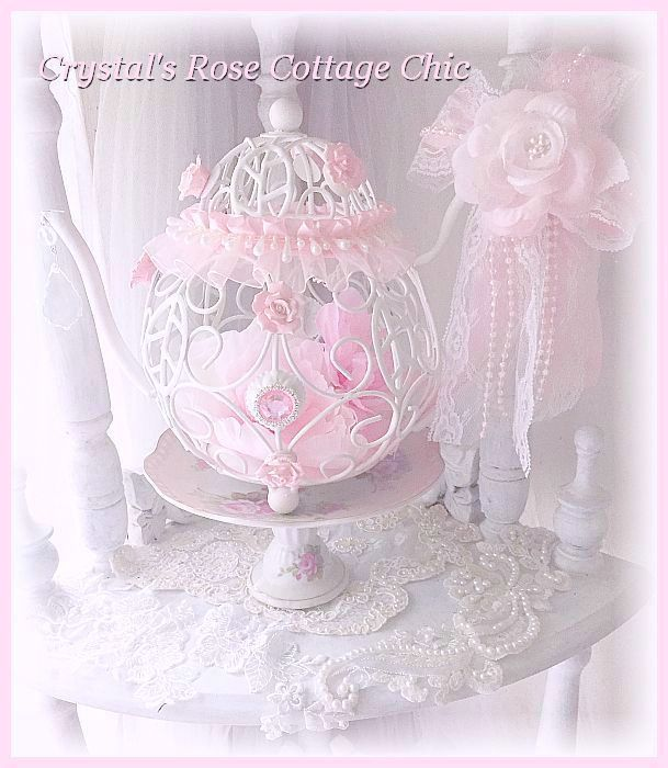 Shabby Pink Rose Wire Teapot