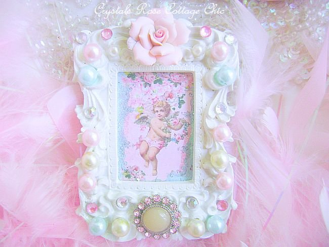 Vintage Cherub Bejeweled Frame