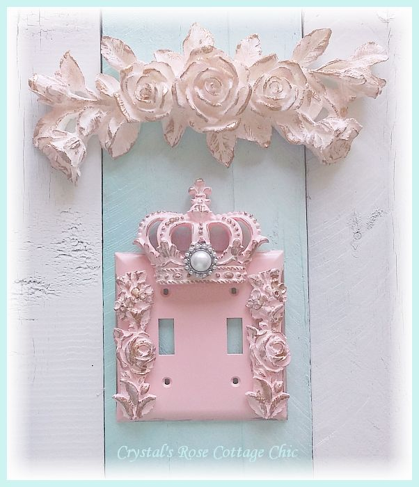 Distressed Double Toggle Vintage Rose Crown Wall Plate...Color Options