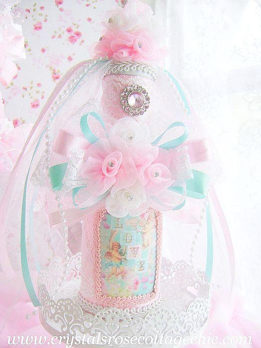 Light Aqua and Pink Vintage Cherub Bottle