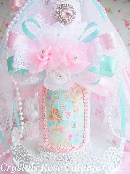 Light Aqua and Pink Vintage Cherub Bottle
