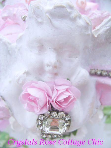 French Chic Vintage Bejeweled Cherub Heart Decor/Ornament