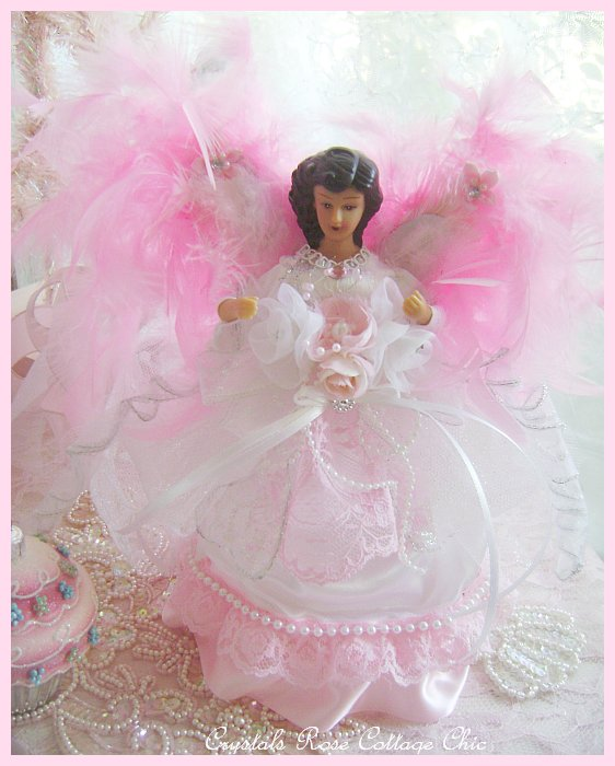 Shabby Chic Brunette Angel Tree Topper