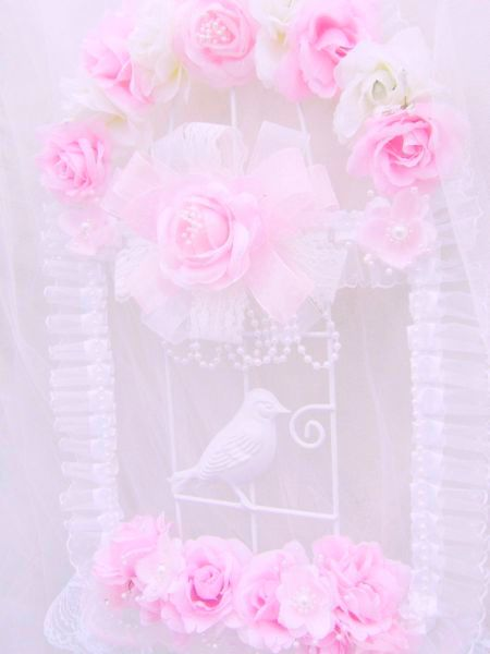 Romantic Pink Rose White Pearl Bird Cage Wall Decor
