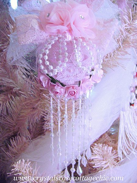 Crystal Glitter Pink Rose Ornament