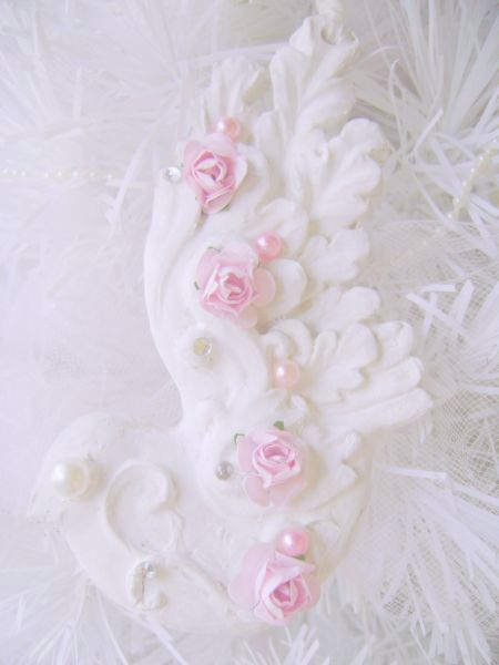 Shabby Chic Pink Rose Bird Ornaments