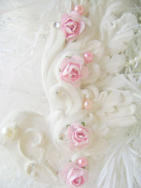 Shabby Chic Pink Rose Bird Ornament
