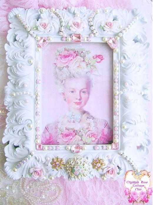 Cottage White Vintage Bejeweled Rose Frame