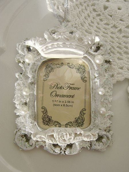 Crystal Cottage White French Chic Crown Rose Frame Ornament