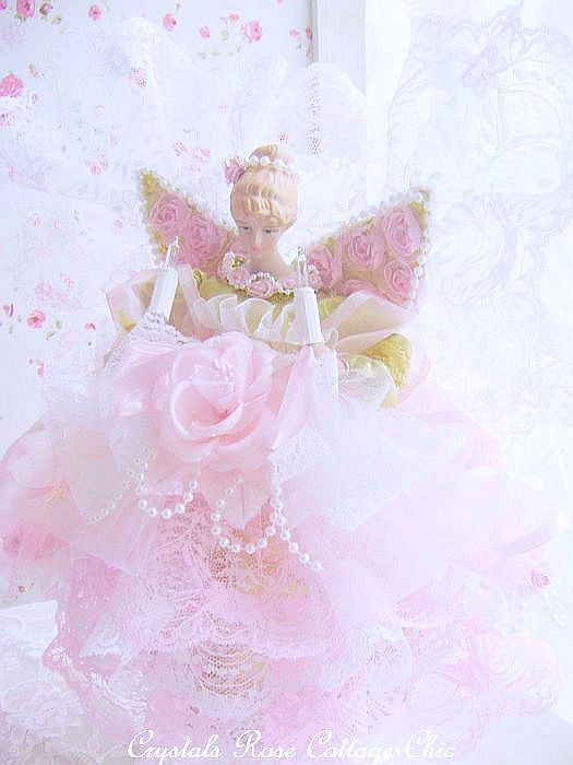 Pink Dream Shabby Lace Wing Angel