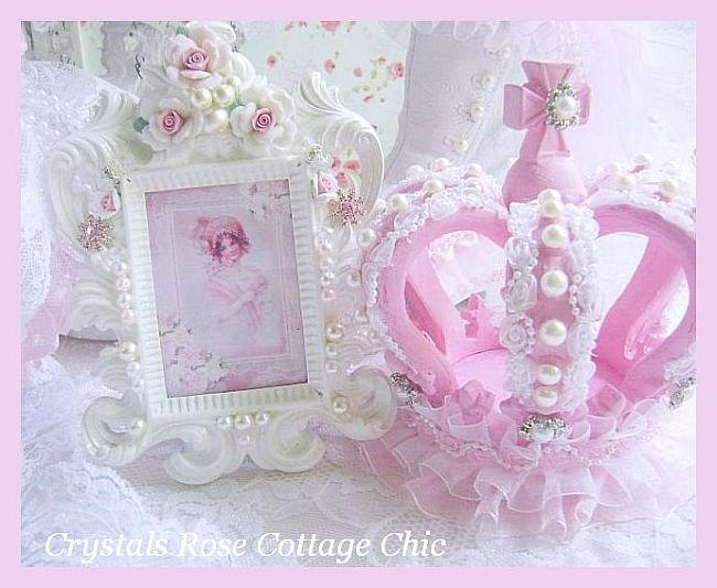 Shabby Pink Princess Crown and Glass Stand