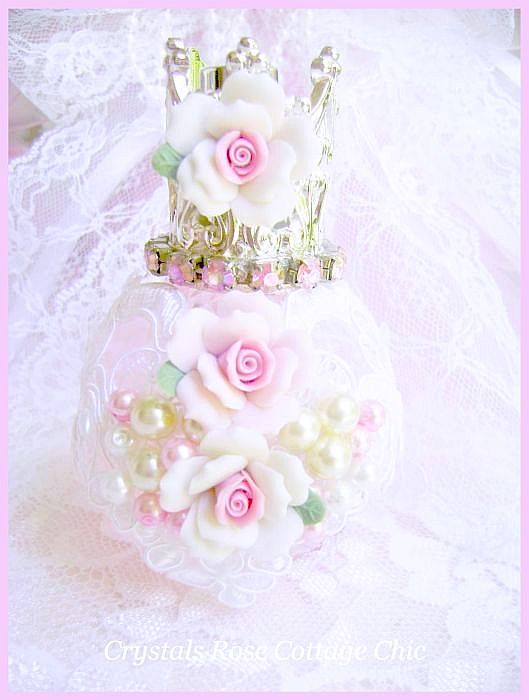 Pink Princess Shabby Rose Perfume Bottle