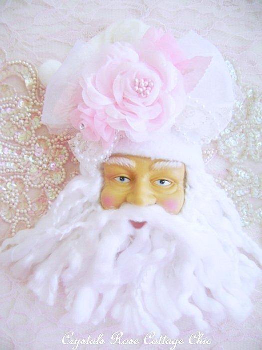 Shabby Pink Santa Ornament