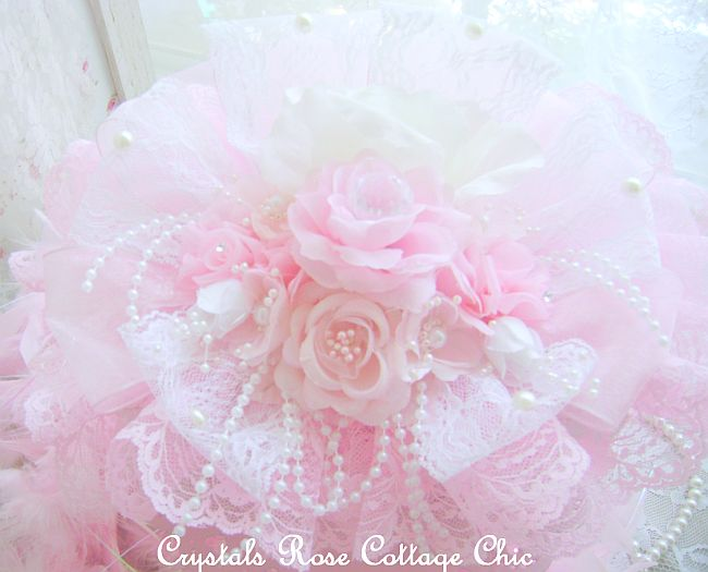 Shabby Pink Rose White Jewelry Box