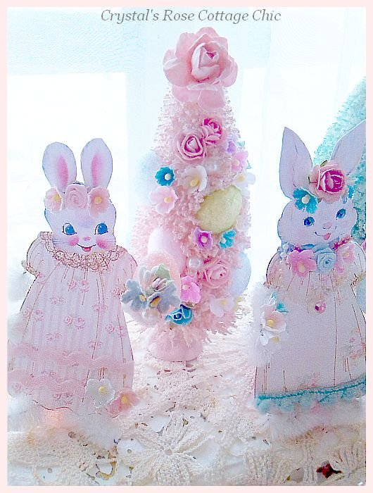 Shabby Pink Vintage Easter Bottle Brush Tree