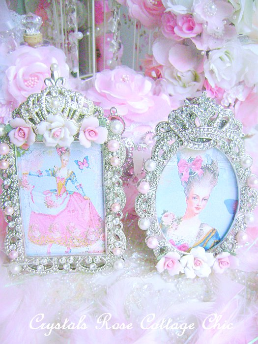 Shabby Pink Rose Crown Frame